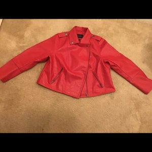 Red leather motor jacket